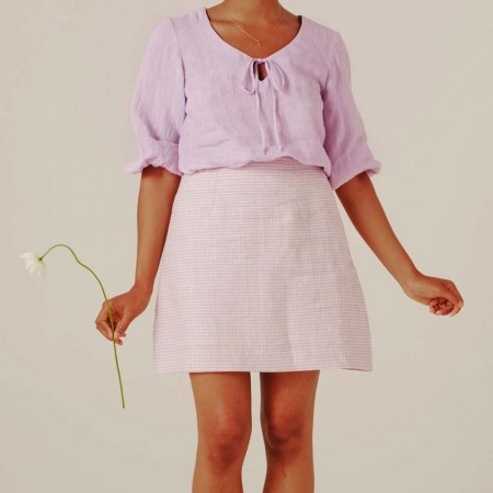 Form By T Shenae Mini Skirt - Lilac Gingham