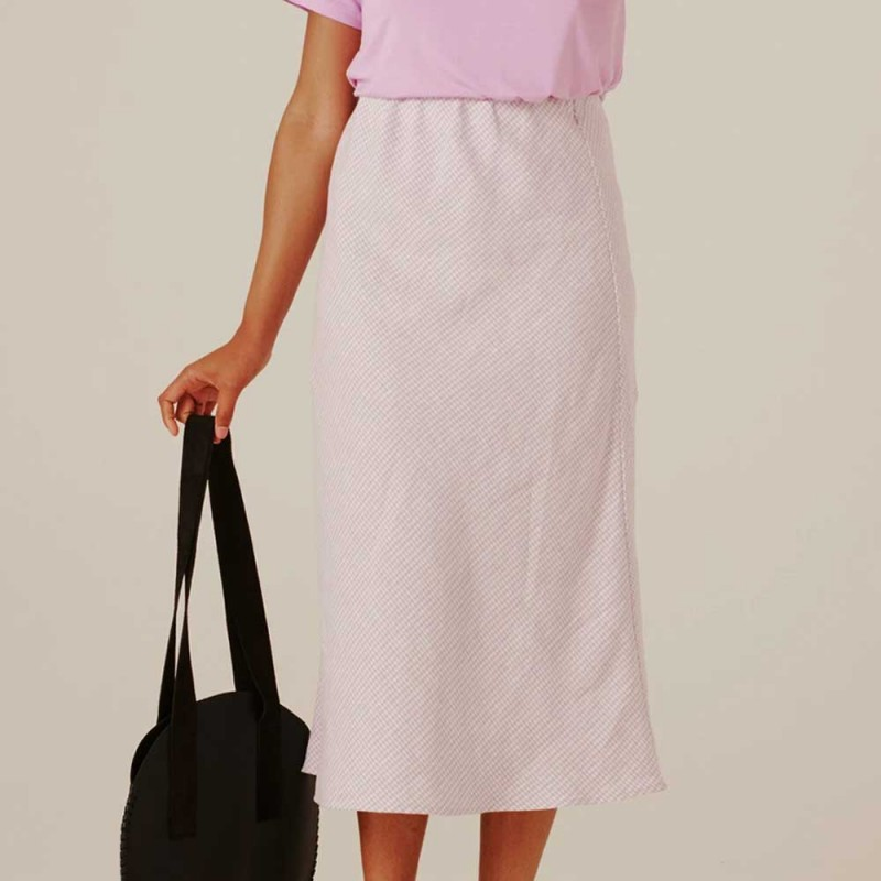 Form By T Peggy Bias Skirt - Lilac Gingham