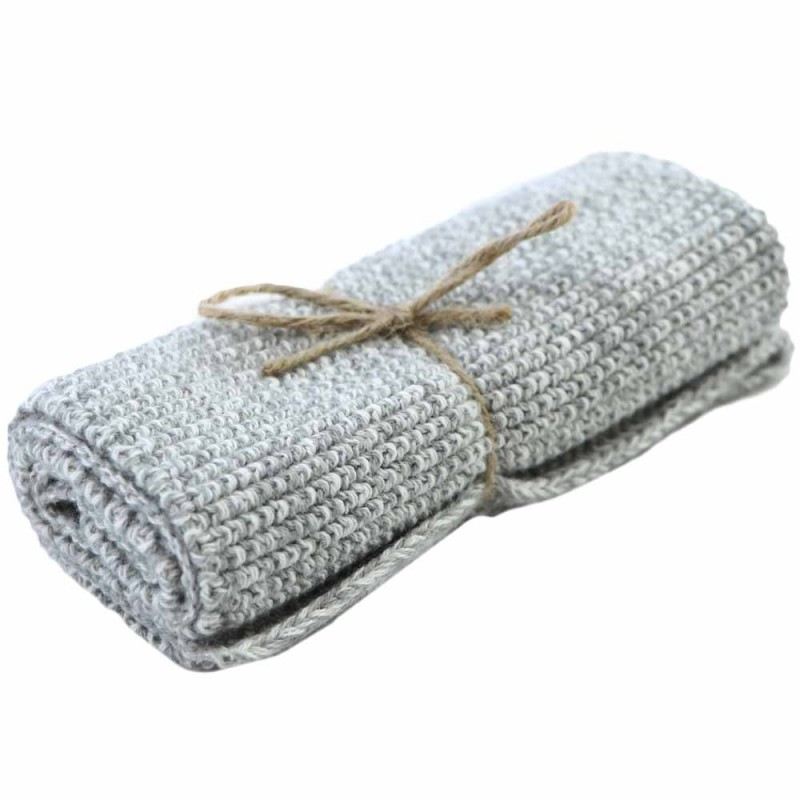Brightwood Organic Cotton Face Washer All Purpose Cloth - Light Grey Merle