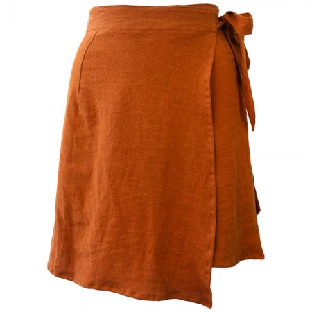 Luna + Sun Galle Linen Skirt - Terracotta