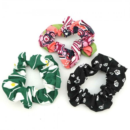 Nya Scrunchie 3 Pack - Black, Evergreen, Coral