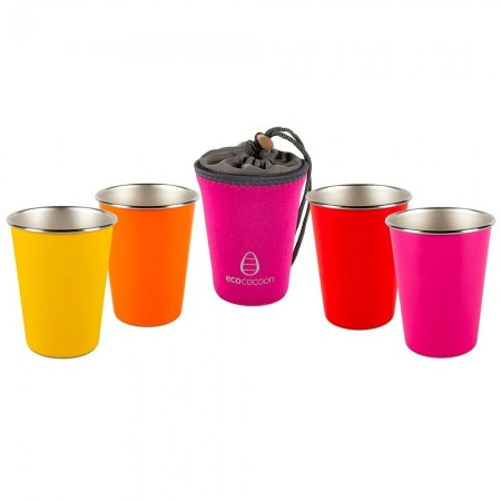 EcoCocoon Stainless Steel 4 Cup Set - Tutti Frutti
