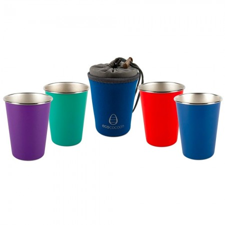 EcoCocoon Stainless Steel 4 Cup Set - Tropical Sunset