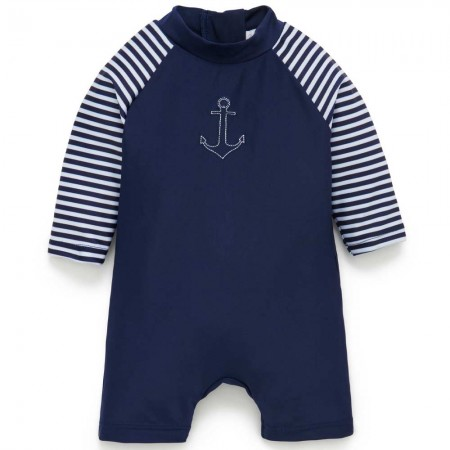 Purebaby Swim Long Sleeve Sunsuit - French Stripe