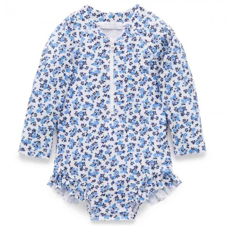 Purebaby Long Sleeve Swimsuit - Forget Me Not