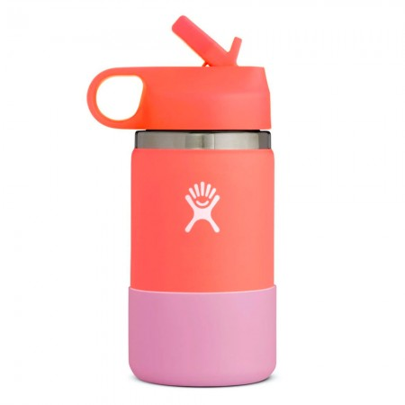 Hydro Flask Wide Mouth Kids Bottle Straw Lid 354ml - Hibiscus