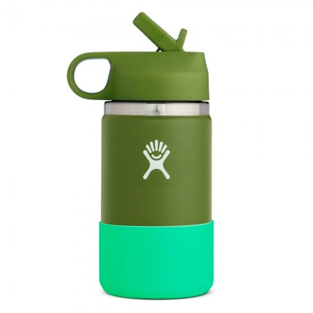 Hydro Flask Wide Mouth Kids Bottle Straw Lid 354ml - Olive
