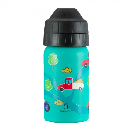 EcoCocoon Stainless Steel Water Bottle 350ml - Crazy Cars