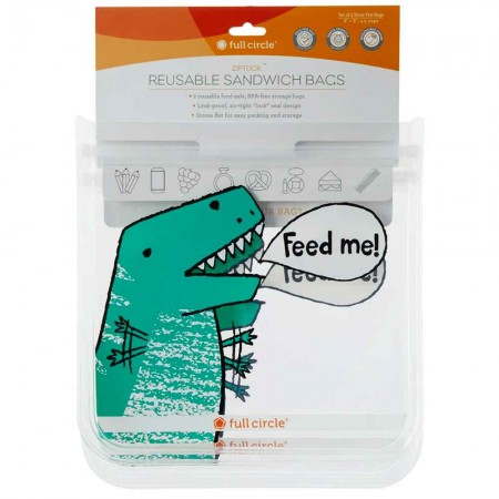 Full Circle ZipTuck Reusable Sandwich Bags 2pk - Dino