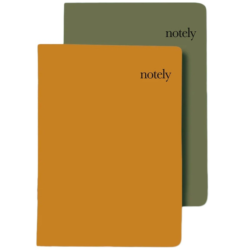 Notely A5 Notebook 2pk Lined - Cup Notes Mustard & Olive