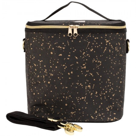 SoYoung Large Washable Paper Lunch Poche Insulated Cooler Bag - Black Gold Splatter