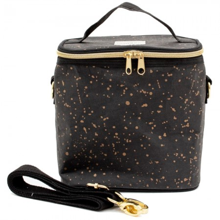 SoYoung Small Washable Paper Petite Poche Insulated Cooler Bag - Black Gold Splatter