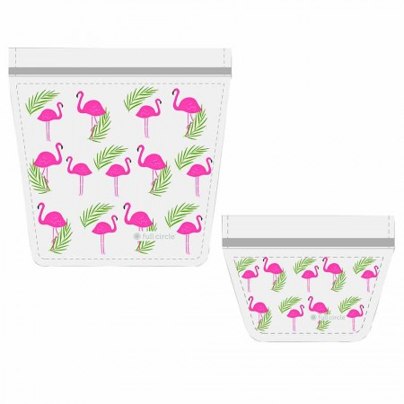 Full Circle ZipTuck Reusable Travel Bag Set - Flamingo