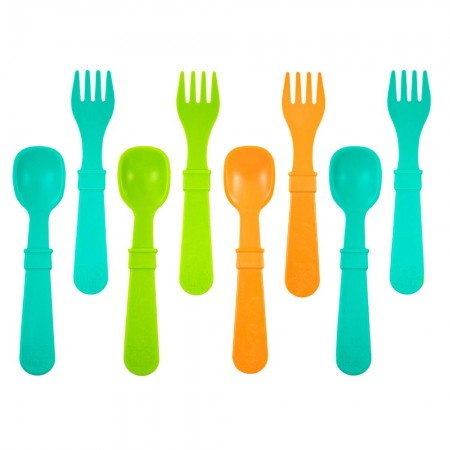 Re-Play Recycled Utensils - Aqua/Green/Orange (8pk)