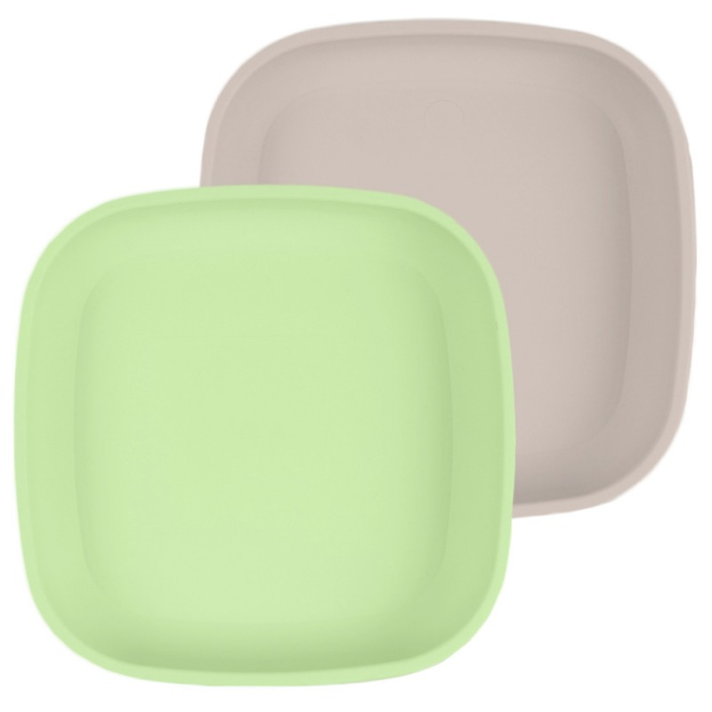 Re-Play Recycled Flat Plate 2pk - Sand & Leaf Green