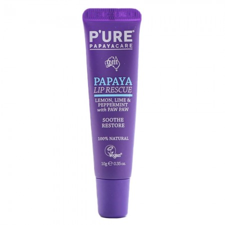 P'ure Papayacare Papaya Lip Rescue 10g - Lemon, Lime & Peppermint