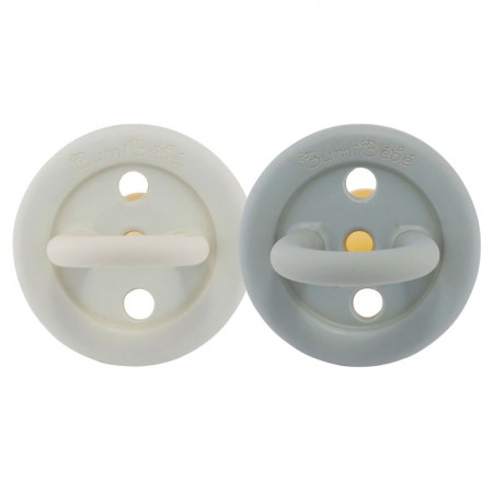 Bumi Bebe Natural Rubber Pacifier Round 3-36m 2pk - Dove Grey Sage