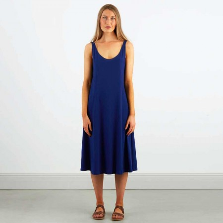 Dorsu Scoop Neck Tank Dress - Sapphire