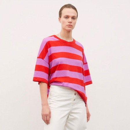 Kowtow Oversized Boxy Tee - Red Purple Stripe