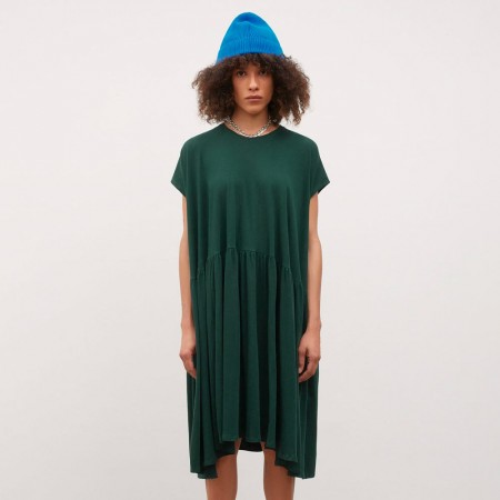 Kowtow Gather Dress - Bottle Green