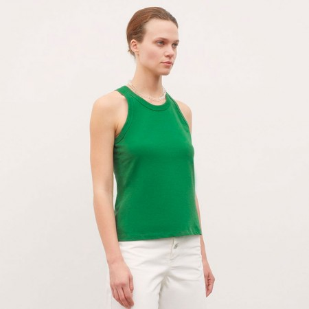 Kowtow Racer Back Singlet - Evergreen