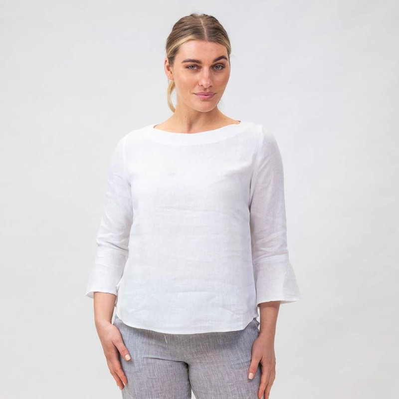 Naturals by O & J Linen Blouse - White