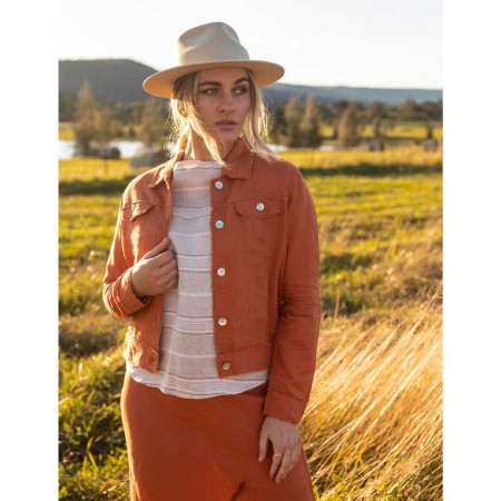 Naturals by O & J Lucy Linen Jacket - Copper