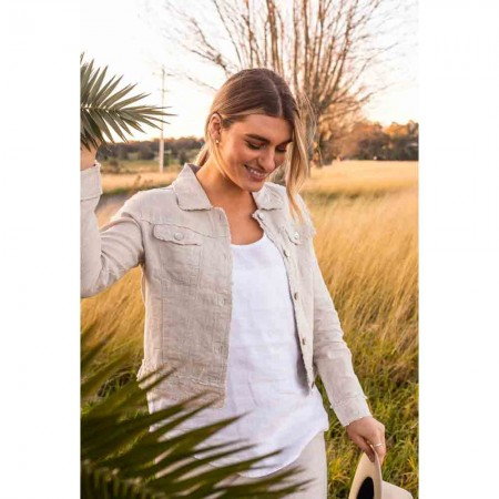 Naturals by O & J Lucy Linen Jacket - Sand