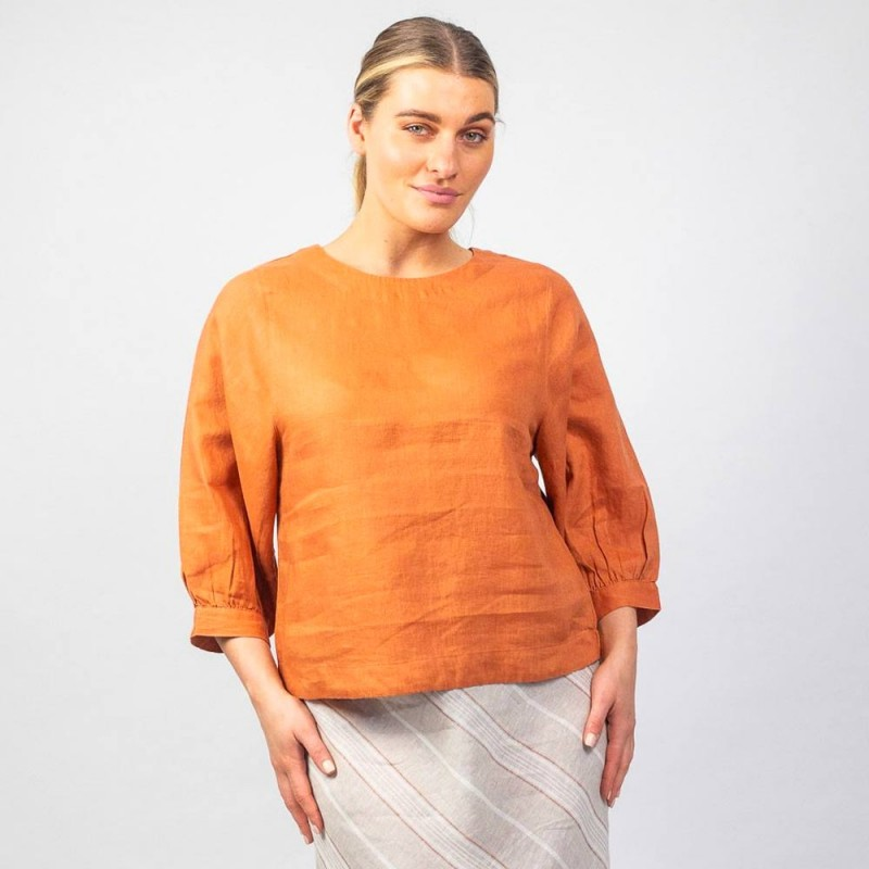 Naturals by O & J Gathered Sleeve Blouse - Copper