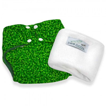 Pea Pods One Size Reusable Nappy - Green Leaves