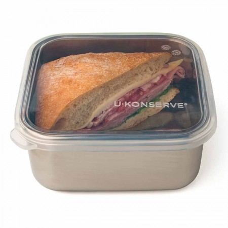 U Konserve Square To-Go Container with Silicone Lid Medium 30oz/0.9L - Clear