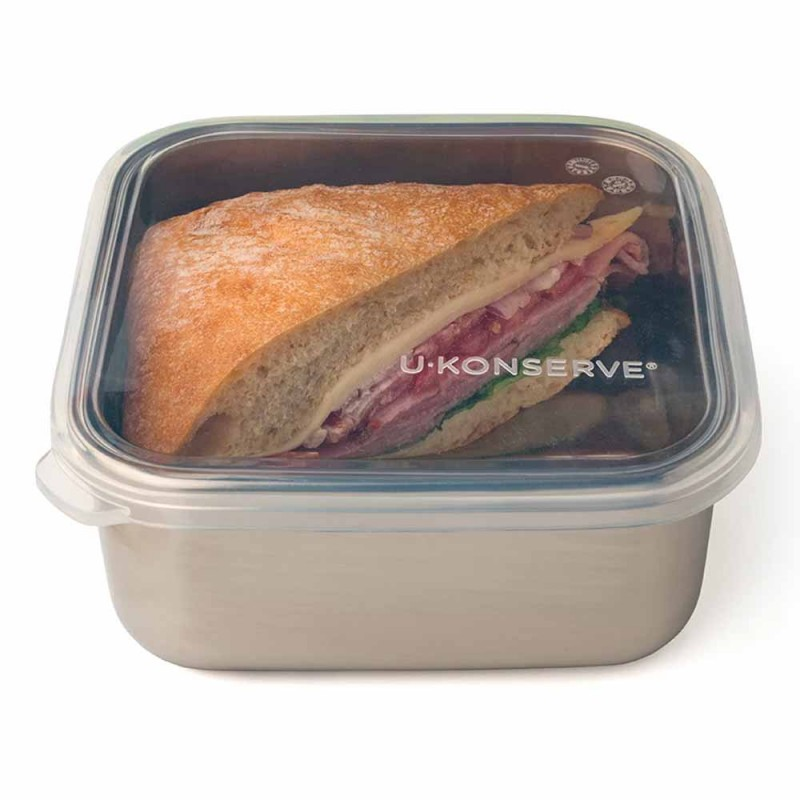 U Konserve Square To-Go Container MED 32oz Clear - Silicone Lid
