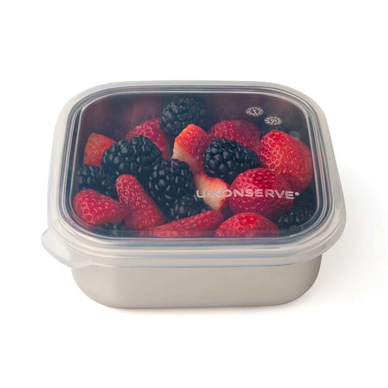 U Konserve Square To-Go Container SML 15oz Clear - Silicone Lid