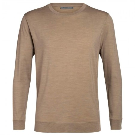 Icebreaker Men's Nature Dye Merino Drayden Long Sleeve Crewe T-Shirt - Almond