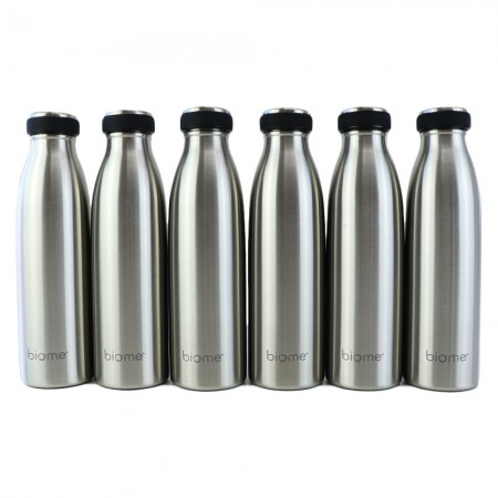 Biome Stainless Steel Double Wall Insulated Water Bottle 500ml - 6 Pack