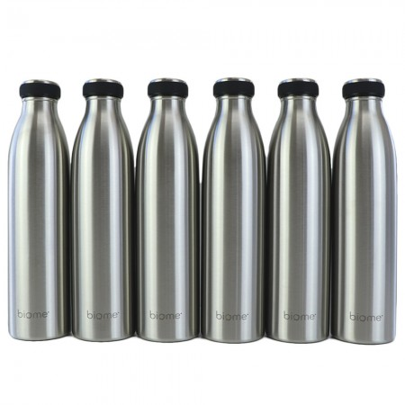 Biome Stainless Steel Double Wall Insulated Water Bottle 750ml - 6 Pack