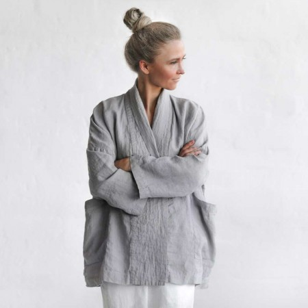 Seaside Tones Linen Jacket - Light Grey