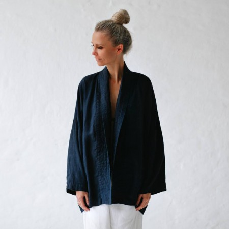 Seaside Tones Linen Jacket - Navy