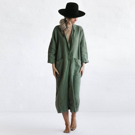 Seaside Tones Linen Coat - Khaki