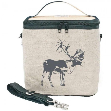SoYoung Large Raw Linen Insulated Cooler Bag - Grey Moose