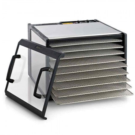 Excalibur D902CDSHD Stainless Steel 9-Tray 26hr Analogue Food Dehydrator - Clear Door