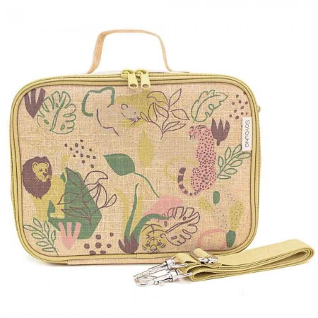 SoYoung Raw Linen Insulated Lunch Box - Jungle Cats