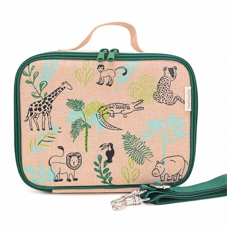 SoYoung Raw Linen Insulated Lunch Box - Safari Friends