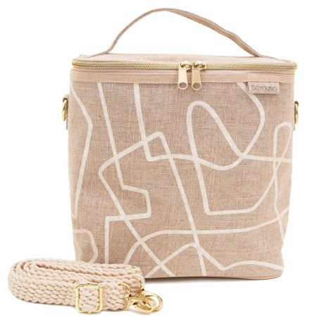 SoYoung Large Raw Linen Lunch Poche Insulated Cooler Bag - Abstract Lines