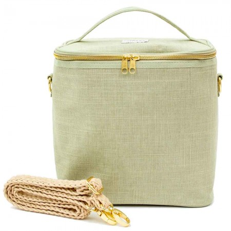 SoYoung Large Raw Linen Lunch Poche Insulated Cooler Bag - Sage Green