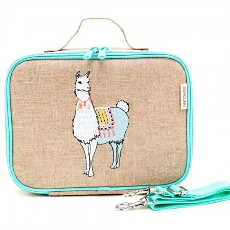 SoYoung Raw Linen Insulated Lunch Box - Groovy Llama