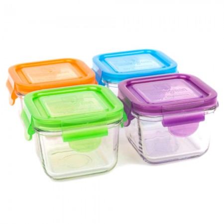 Wean Green Glass Containers 210ml 4 pack - Snack Garden