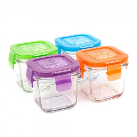 Wean Green Glass Containers 120ml 4 pack - Mini Cube Garden