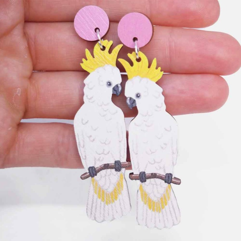 Pixie Nut and Co White Cockatoo Earrings