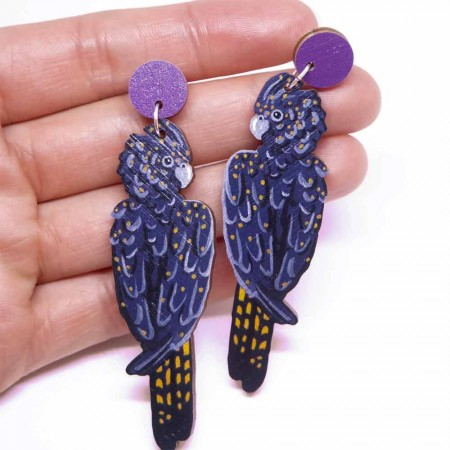 Pixie Nut and Co Black Cockatoo Earrings